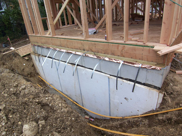 Reclaimed rigid foam insulation is attached to the entire foundation.